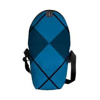 Medium & Dark Blue Argyle Messenger Bag