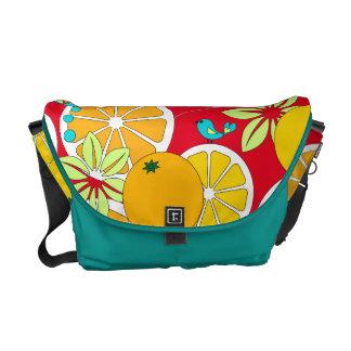 (Medium)Fruity orange slices & blue birds Courier Bag