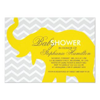 Medium gold big elephant baby shower card