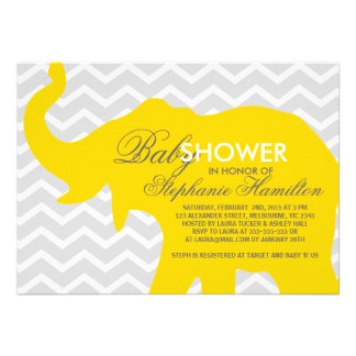 Medium gold big elephant baby shower custom invite
