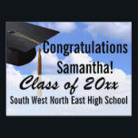 "Medium Graduation Yard Sign, Blue Sky Banner Lawn Sign<br><div class=""desc"">Blue sky background with black mortarboard cap and tassel.  Personalized outdoor graduation party sign with your graduate&#39;s year,  name,  high school.  Spectacular way to congratulate the graduate and welcome family and guests to your graduation party .</div>"