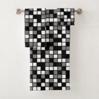Medium Gray, Black, White Random Mosaic Squares Bath Towel Set