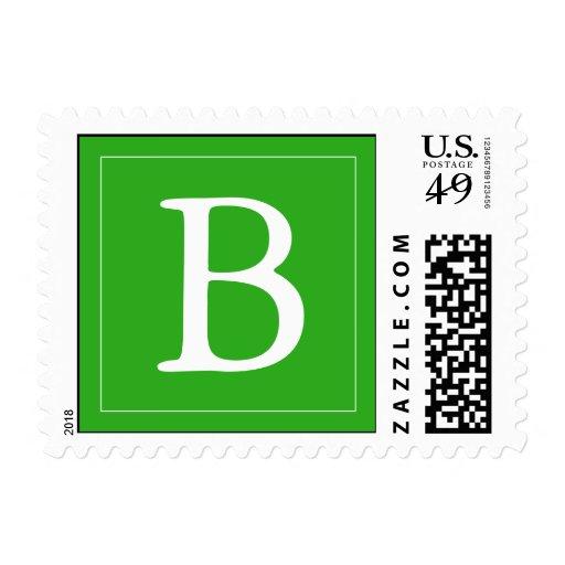 Medium Green Monogrammed Postage Stamp Stamp