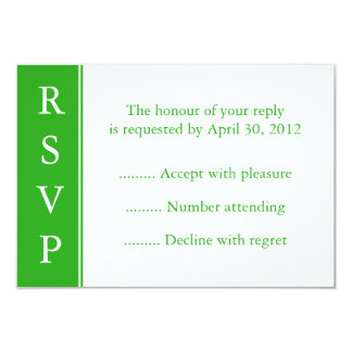 Medium Green RSVP, Reply or Resonse Card Personalized Invites