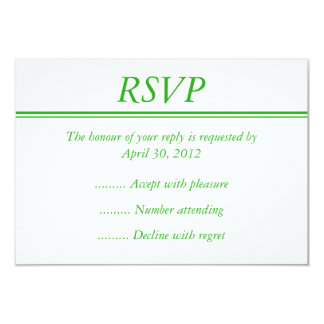 Medium Green RSVP, Response or Reply Card Invite