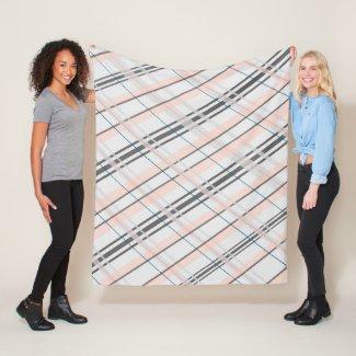 Medium Grey and Pink Plaid Blanket