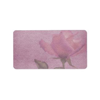 Medium Horizontal Pink Rose Apothecary Label