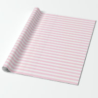 Medium Light Pink and White Stripes Wrapping Paper