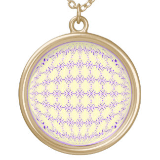 Medium Lilac/Pale Yellow Pattern Globe Design Gold Plated Necklace