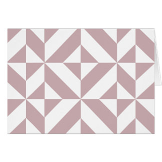 Medium Mauve Geometric Deco Cube Pattern Greeting Card