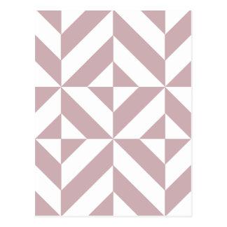 Medium Mauve Geometric Deco Cube Pattern Postcard