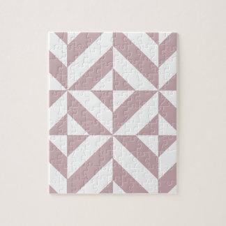 Medium Mauve Geometric Deco Cube Pattern Jigsaw Puzzles