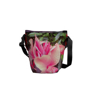Medium Messenger Bag Pink Canna Lily Design