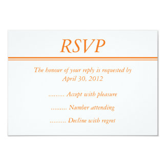 "Medium Orange RSVP, Reply or Response Card 3.5"" X 5"" Invitation Card"