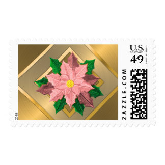 MEDIUM Pink and Gold Poinsettia Stamps
