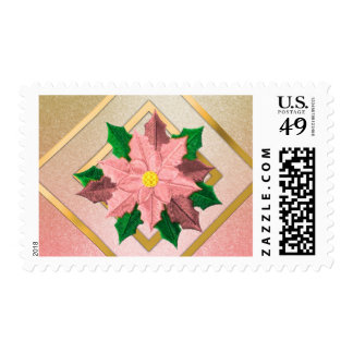 MEDIUM Pink and Gold Poinsettia Stamp