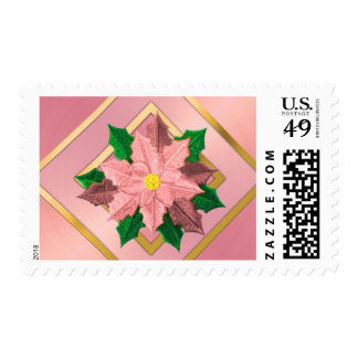 MEDIUM Pink and Gold Poinsettia Postage Stamp