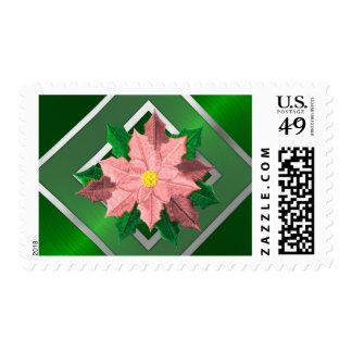 MEDIUM Pink and Silver Poinsettia Postage Stamp