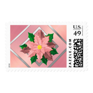 MEDIUM Pink and Silver Poinsettia Postage Stamps