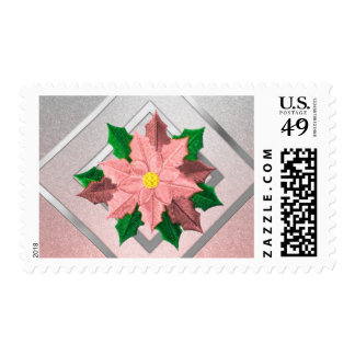 MEDIUM Pink and Silver Poinsettia Stamp