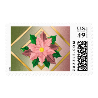 MEDIUM Pink Green and Gold Poinsettia Stamps
