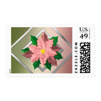 MEDIUM Pink Green and Silver Poinsettia Postage