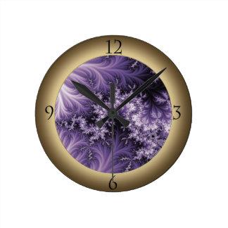 Medium Purple Dragon Fractal Clock with Numbers