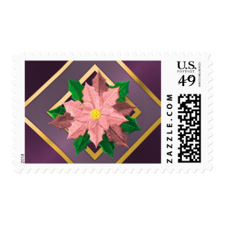 MEDIUM Purple Pink and Gold Poinsettia Stamps
