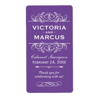 Medium Purple Wedding Wine Bottle Monogram Favor Shipping Label