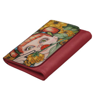 """Medium Red Leather """"Lady Bug Discovery"""" Wallet"""