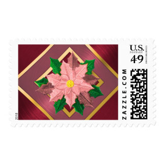 MEDIUM Red Pink and Gold Poinsettia Postage