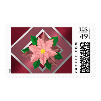 MEDIUM Red Pink and Silver Poinsettia Postage