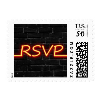 MEDIUM RSVP Red Neon on Black Brick Postage