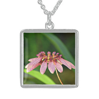 Medium Silver Sterling Necklace with Orchid Image