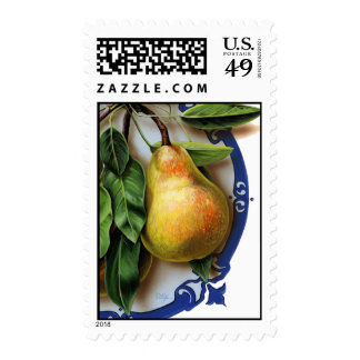 Medium size.  Luscious pears on blue. Delicious. Stamps