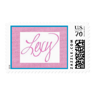 medium size pink background with pink name LEXY Postage
