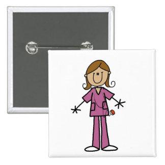 Medium Skin Stick Figure Female Nurse Pinback Button