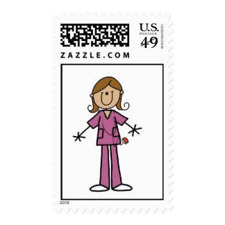 Medium Skin Stick Figure Female Nurse Postage
