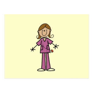 Medium Skin Stick Figure Female Nurse Postcard