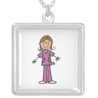 Medium Skin Stick Figure Female Nurse Silver Plated Necklace