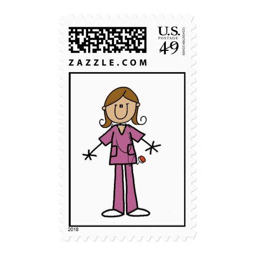 Medium Skin Stick Figure Female Nurse Stamp