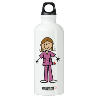 Medium Skin Stick Figure Female Nurse Water Bottle