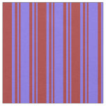 [ Thumbnail: Medium Slate Blue and Brown Colored Lined Pattern Fabric ]
