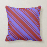 [ Thumbnail: Medium Slate Blue and Brown Colored Lined Pattern Throw Pillow ]