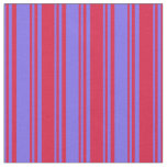 [ Thumbnail: Medium Slate Blue and Crimson Colored Stripes Fabric ]