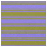 [ Thumbnail: Medium Slate Blue and Green Striped Pattern Fabric ]