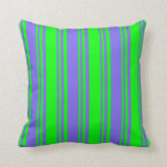 [ Thumbnail: Medium Slate Blue and Lime Colored Lines Pillow ]