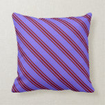 [ Thumbnail: Medium Slate Blue and Maroon Stripes Pattern Throw Pillow ]