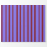 [ Thumbnail: Medium Slate Blue and Maroon Stripes Pattern Wrapping Paper ]
