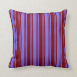 [ Thumbnail: Medium Slate Blue and Maroon Stripes Throw Pillow ]